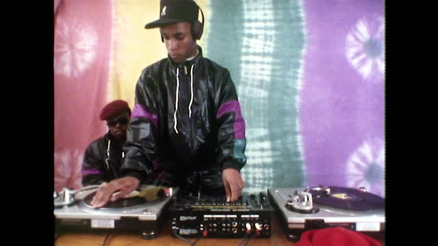 ms teen boy scratching records on turntable; 1989 - human finger stock videos & royalty-free footage