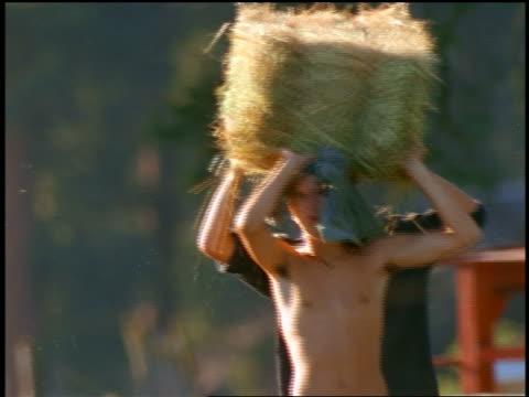 PAN teen boys carrying bale of hay toward camera / Montana