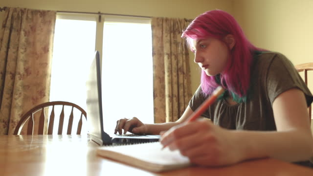 teen girl studying online at home on laptop - pink hair stock videos & royalty-free footage