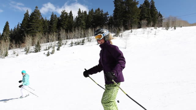 ms pov ts teen girl taking long ski run / park city, utah, united states - adolescence stock videos & royalty-free footage