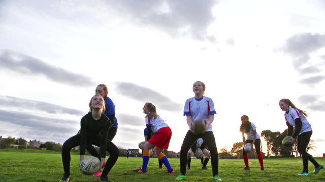 Teen Girls doing a Rugby Training Drill