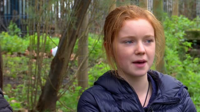 teenage activist taking year off school to fight to protect wildlife in london; england: london: int bella lack set up shot with reporter / interview... - wildlife stock videos & royalty-free footage