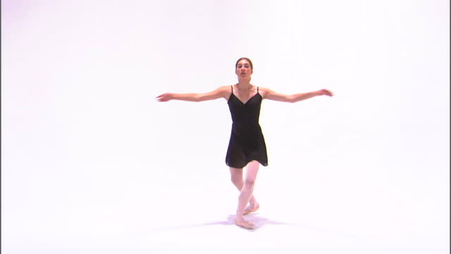 ws teenage (16-17) ballerina dancing, against white background / orem, utah, usa - ballet dancer stock videos & royalty-free footage