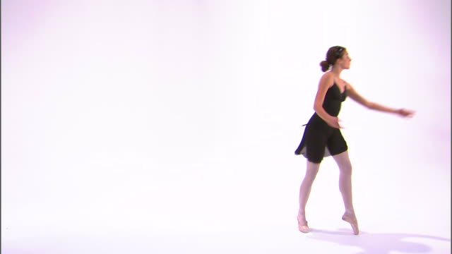ws teenage (16-17) ballerina dancing, against white background / orem, utah, usa - one teenage girl only stock videos & royalty-free footage