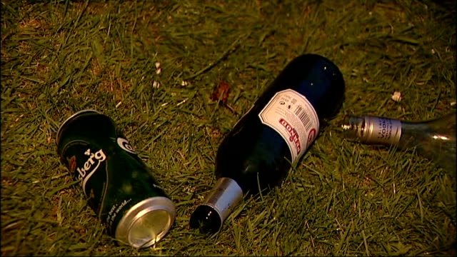 teenage binge drinking: special report; night pernod bottle and lager cans discarded on grass close shot more alcohol items on grass - lager stock videos & royalty-free footage
