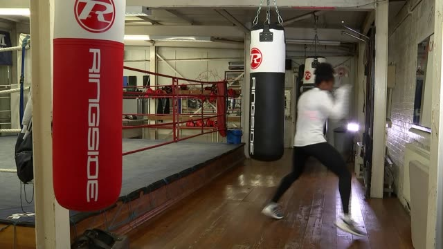 Teenage boxer Caroline Dubois targets Tokyo 2020 Olympic Games ENGLAND London INT Various shots of Caroline Dubois training in boxing gym Caroline...