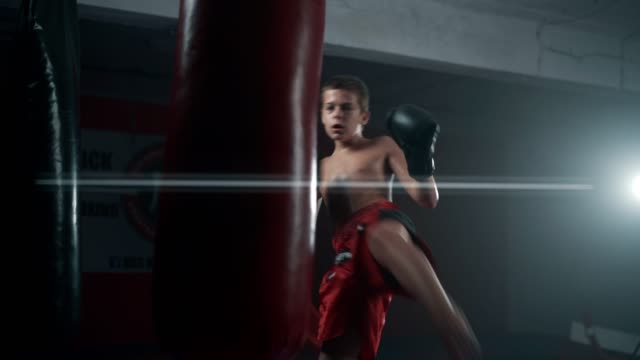 teenage boxer punching a bag - un ragazzo adolescente video stock e b–roll
