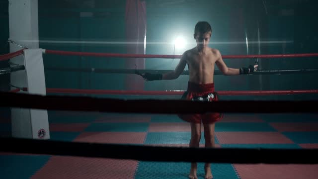 teenage boxer training with jump rope - un ragazzo adolescente video stock e b–roll