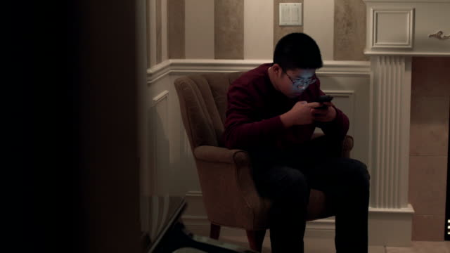 teenage boy browsing on his smartphone - un ragazzo adolescente video stock e b–roll