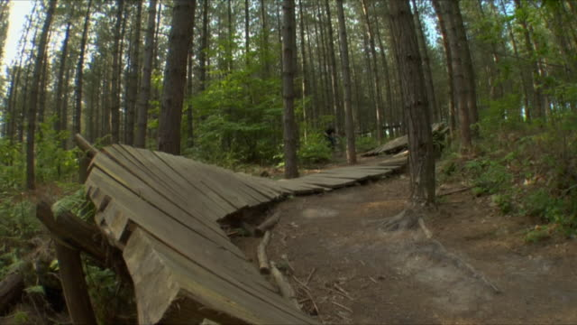 SLO MO LA WS Teenage boy cycling on curved wooden ramp in Bedgebury Forest / Kent, England, UK