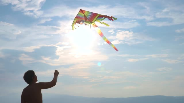 teenage boy flying kite on beach - clear sky stock videos & royalty-free footage