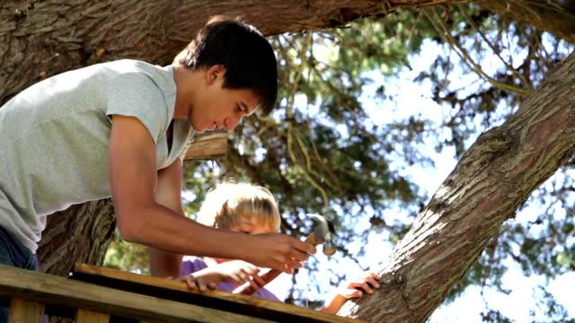 vídeos de stock, filmes e b-roll de garoto adolescente ajuda a irmã mais nova para construir uma casa na árvore - treehouse