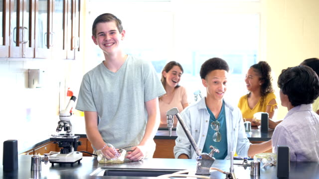 teenage boy in high school science lab - 16 17 years stock videos & royalty-free footage