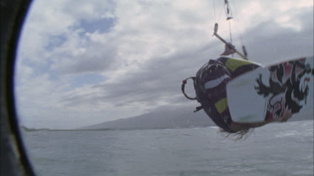 ms, teenage boy (16-17) kite boarding, maui, hawaii, usa - one teenage boy only stock videos & royalty-free footage