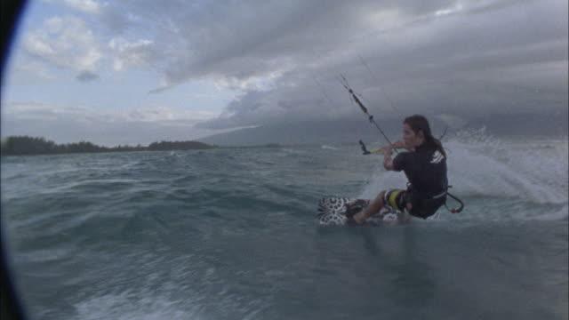 ms, teenage boy (16-17) kite boarding, maui, hawaii, usa - upside down stock videos & royalty-free footage