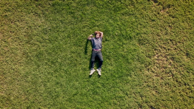 teenage boy lying on the grass using his smart phone - sdraiato video stock e b–roll