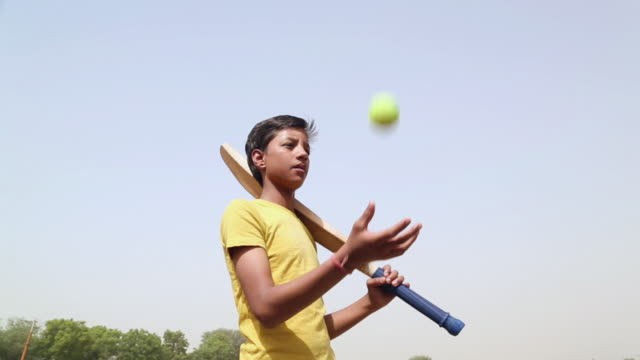 teenage boy playing cricket, haryana, india - cricket video stock e b–roll