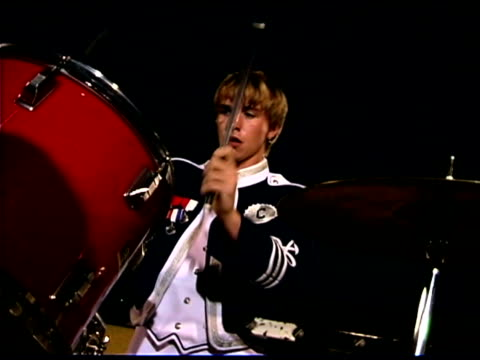 teenage boy playing drums in marching band - one teenage boy only stock videos and b-roll footage