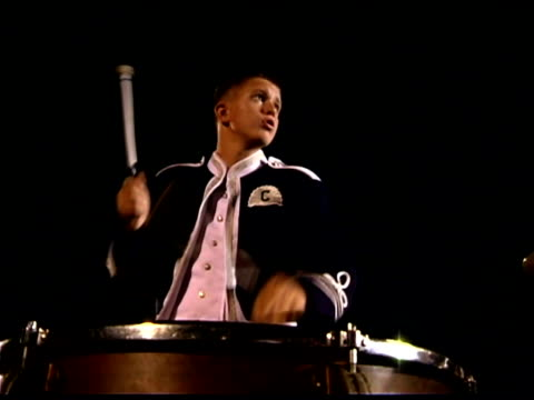 teenage boy playing timpani in marching band - marching band stock videos & royalty-free footage