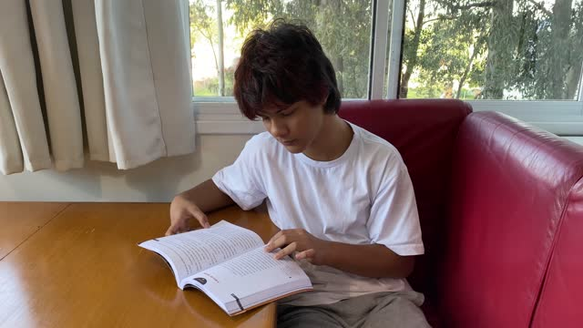 teenage boy reading a book at home. digital detox concept. - literature stock videos & royalty-free footage
