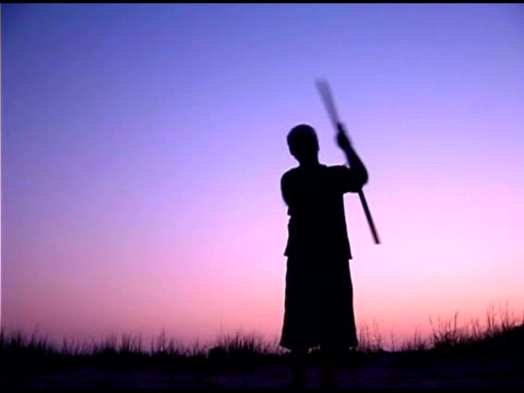 teenage boy spinning stick on beach at sunset - one teenage boy only stock videos & royalty-free footage