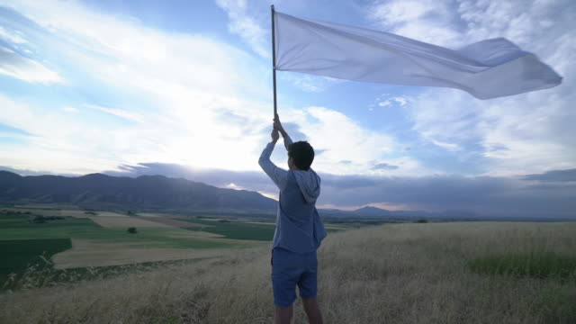 rv ws ts teenage boy waving a huge flag in a field - 旗点の映像素材/bロール
