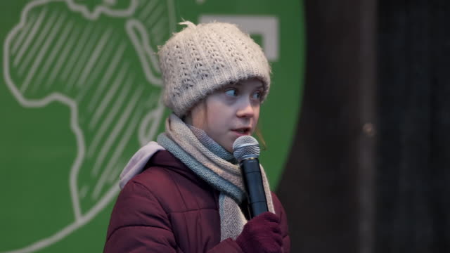 teenage climate activist greta thunberg speaks at a fridays for future climate protest on february 21 2020 in hamburg germany the citystate of... - environmentalist stock videos & royalty-free footage