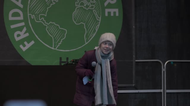 teenage climate activist greta thunberg speaks at a fridays for future climate protest on february 21 2020 in hamburg germany the citystate of... - climate activist stock videos & royalty-free footage