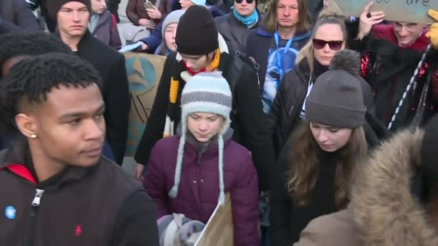 teenage climate activist greta thunberg takes part in a school strike demonstration in davos on the last day of the world economic forum where she... - climate activist stock videos & royalty-free footage