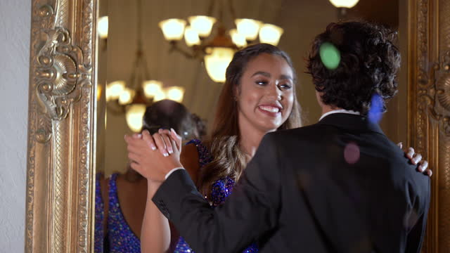 teenage couple dressed for prom, slow dancing - 16 17 years stock videos & royalty-free footage