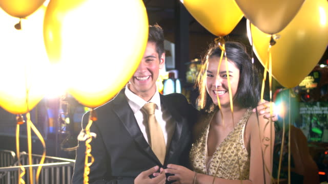 teenage couple having fun at prom, laughing - teenage couple stock videos & royalty-free footage