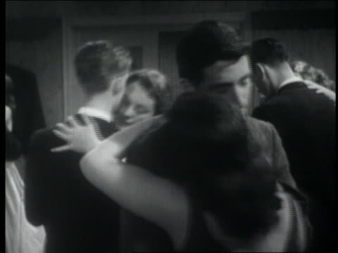 b/w 1957 teenage couples slow dancing at party - slow dancing stock videos and b-roll footage