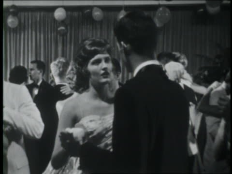 b/w 1961 teenage couples slow dancing at prom / coca-cola educational - 1961 stock videos and b-roll footage