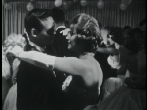 b/w 1961 teenage couples slow dancing at prom / coca-cola educational - slow dancing stock videos and b-roll footage