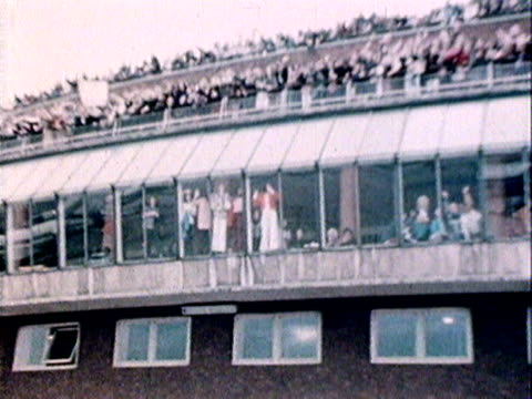 teenage fans of the osmonds line the viewing areas of heathrow airport to see the group arrive in the uk. 1972 - the osmonds stock videos & royalty-free footage