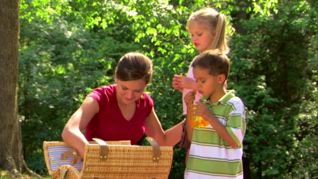 teenage girl and children picnicking - 子守り点の映像素材/bロール