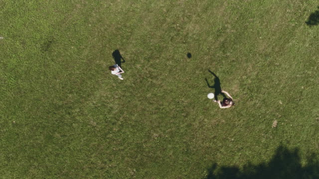 teenage girl and young woman playing volleyball on the lawn. top view directly above, aerial drone video - lawn stock videos & royalty-free footage