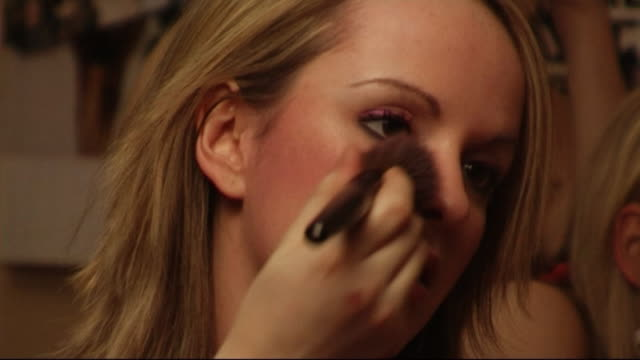 teenage girl applying makeup - one teenage girl only stock videos & royalty-free footage