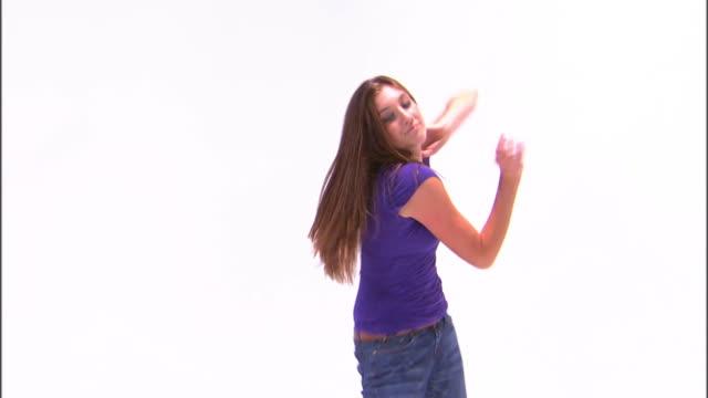 ms teenage girl (16-17) dancing, against white background / orem, utah, usa - one teenage girl only stock videos & royalty-free footage