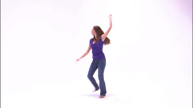 ws teenage girl (16-17) dancing, against white background / orem, utah, usa - one teenage girl only stock videos & royalty-free footage
