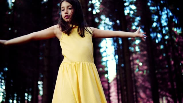 teenage girl dancing in the forest - girls stock videos & royalty-free footage