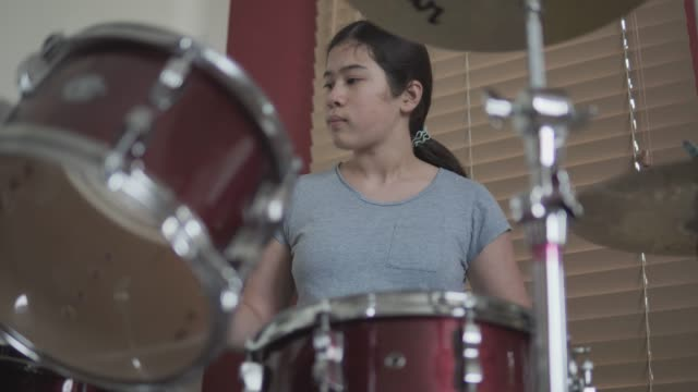teenage girl drummer - drum kit stock videos & royalty-free footage