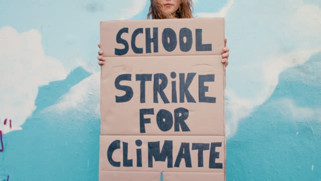 teenage girl holding climate school strike protest sign - campaigner stock videos & royalty-free footage