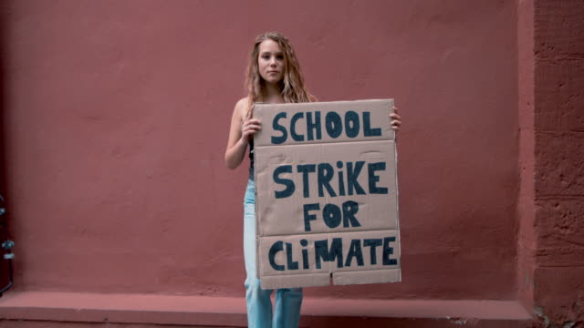 vídeos de stock e filmes b-roll de teenage girl holding climate school strike protest sign - texto