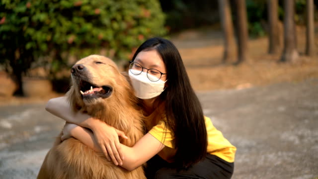 teenage girl in air pollution mask hug golden retriever - pollution mask stock videos & royalty-free footage
