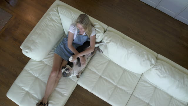 teenage girl on couch petting puppy - 部屋点の映像素材/bロール