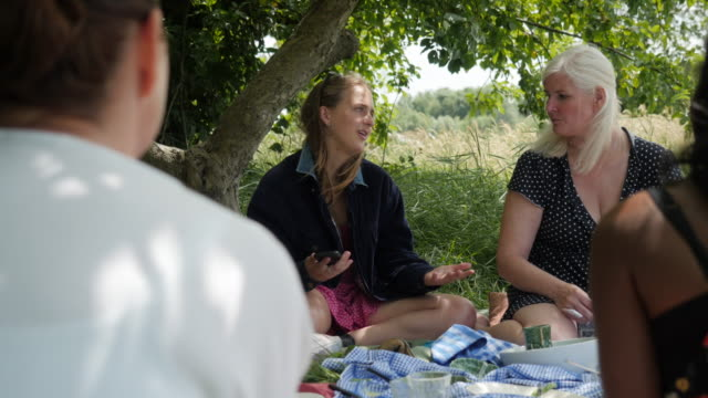 teenage girl on social media during a picnic - rolling eyes stock videos & royalty-free footage