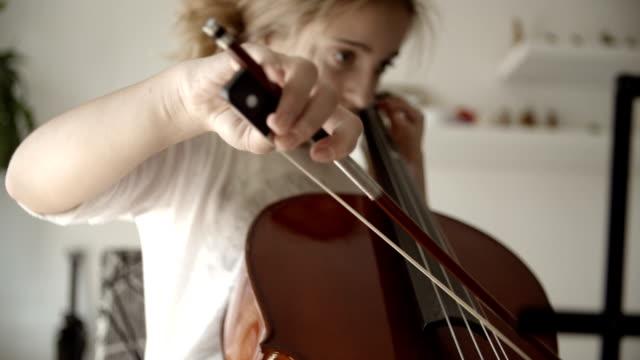 HD: Teenage Girl Playing Cello.