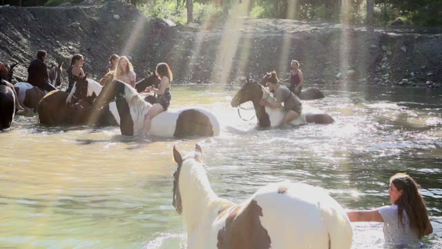 Teenage Girl Riding Horse Lake Bathing Splash Freedom Slow Motion 4K