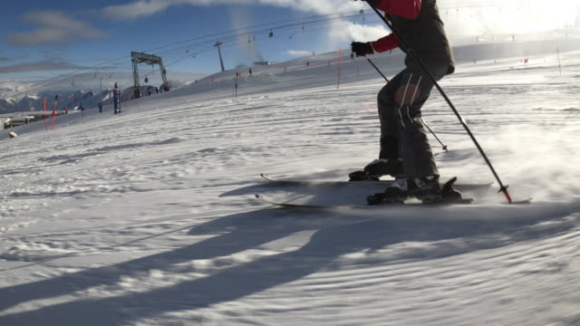 teenage girl skiing at glacier in the alps - ski holiday stock videos & royalty-free footage